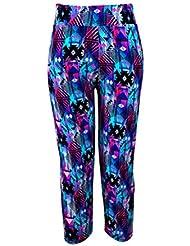 FENICAL Pantalones de Yoga de los Deportes de Las Mujeres Polainas de la Cintura Alta Pintura Digital elástico Apretado Fitness Gym Sports Pantalones de Yoga Medias Medias M