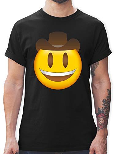 Comic Shirts - Emoji Cowboy-Hut - XXL - Schwarz - L190 - Herren T-Shirt ()