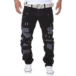 LuckyGirls Straight Series Hombre Pantalones Vaqueros Rotos Recto Jeans Denim Destruida Pantalón