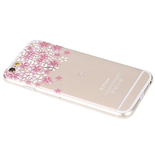 Cover per iPhone 5S, Custodia iphone SE, iphone 5 Custodia Silicone, MoreChioce Moda Funny Cute Fiore Animal Painting Colorato Custodia, Ultra Slim 3d Gel Soft Silicone Gomma Morbido TPU Trasparente C Fiori di ciliegio,C#3