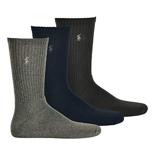 Ralph Lauren Lot de 3 paires de chaussettes bleu marine grise et noire pour homme