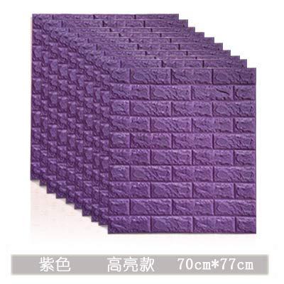 Dieci pezzi 3D adesivi murali in mattoni impermeabile anti-collisione lavabile carta da parati multicolore fai da te autoadesivo carta da parati viola modelli speciali 77 * 70