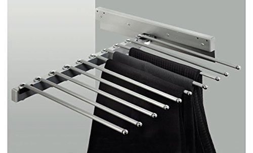 GedoTec® Hosenauszug ausziehbar Schrankauszug | Stahl verchromt | 465x480x100 mm | Hosenhalter ausziehbar für 10 Hosen | Markenqualität für Ihren Wohnbereich
