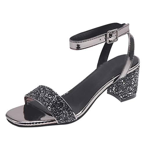 Lilicat Sandali con Cinturino alla Caviglia Donna Sandali A Punta Aperta con Tacco Medio Sandali col Tacco metà (Grigio,36 EU)