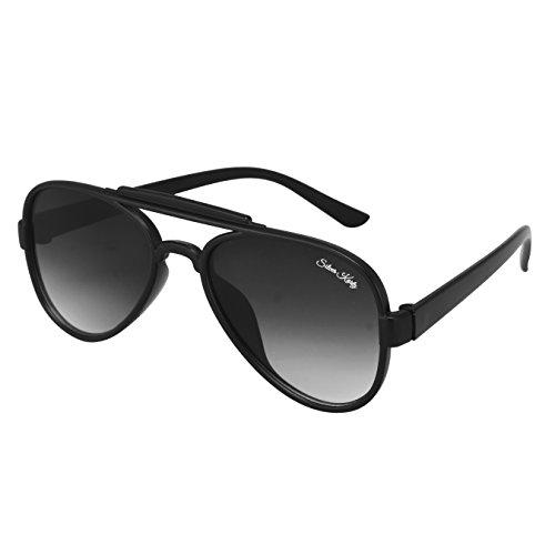 Silver Kartz Matt Black Double Gradient Aviator Sunglasses (wy189)