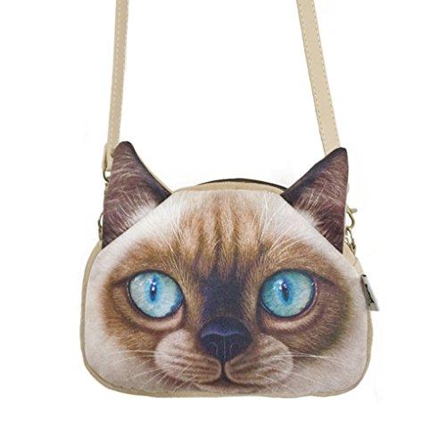 FakeFace Damen 3D Katzenkopf Schultertasche Crossbody Bag Henkeltasche Handtasche Damentasche Handytasche mit Katze Aufdruck für Wandern Außflug Shopping (Gelbe Augen) Blaue Augen
