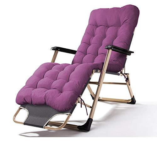 ZRKZ Relaxliege Mit Armlehnen, Klappstuhl Mittagspause Stuhl Tragbarer Außenklappbett Bürostuhl Campingbett Strandkorb Gewicht Max 120kg,Pearlcottonpad(Purple)-52 * 92 * 93CM