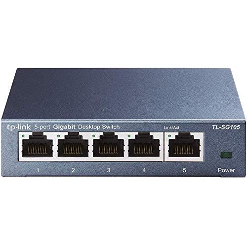 TP-Link TL-SG105 - Switch 5 Puertos 10/100/1000 Switch ethernet, Switch gigabit, Indicador del estado, acero inoxidable con Super disipación de calor, IGMP snooping, QoS