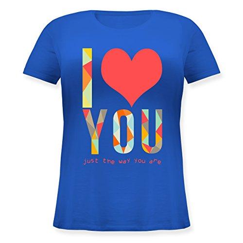 Romantisch - I love you just the way you are - Lockeres Damen-Shirt in großen Größen mit Rundhalsausschnitt Blau