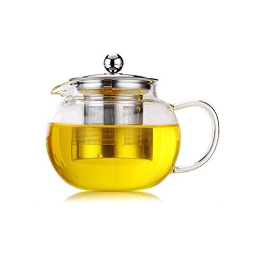 Elviray Hohe Temperaturbeständigkeit Klar Borosilikatglas Teekanne Elegante Glas Teetasse Teekanne Mit Edelstahl Infuser