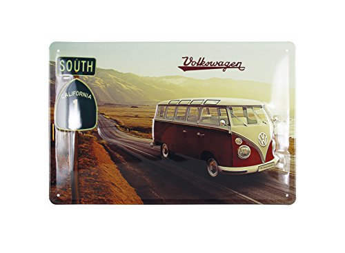 vw-collection-by-brisa-blechschild-mit-vw-bulli-t1-retromotiv-highway-1-20x30-cm