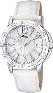 Reloj analógico Lotus 15745/1 de cuarzo para mujer con correa de piel, color blanco