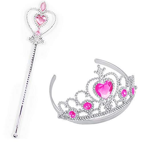 Party-Spielzeug, 2 Stück Party-Diamant-Krone + Schneeflocken-Zauberstab, Mädchen, Königin, Prinzessin, Halloween, Cosplay, Urlaub, Party-Spielzeug (lila), rose, Einheitsgröße