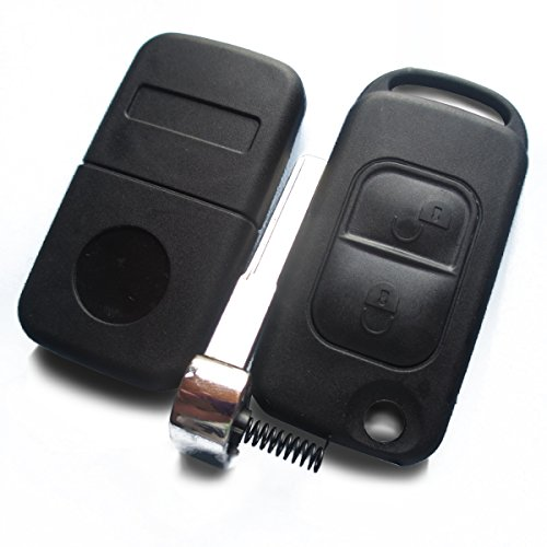 MBenzKS04 - Ersatz Schlüsselgehäuse mit 2 Taste Autoschlüssel Klappschlüssel Schlüssel Rohlingtyp (HU44) Fernbedienung Funkschlüssel Gehäuse ohne Transponder oder Elektronik. Für Mercedes Benz. Jurmann Trade GmbH®