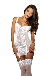Dreamgirl 8717 Guêpière avec Porte Jarretelles/String Couleur Blanc Taille XL