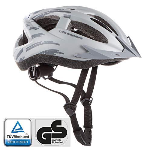 Ultrasport Fahrradhelm mit LED, weich gepolsterter Bikehelm mit Belüftungsschlitzen, TÜV/GS-geprüft, silber grau, L/XL, 59-64 cm
