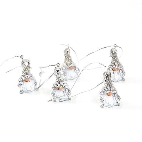 5 Stück kleine Mini weiß silber-farbene Weihnachts-Wichtel (4 + 10 cm Schnur) mit Schnur als Weihnachts-ANHÄNGER Baumschmuck Christbaumschmuck Christbaumanhänger (Süßigkeiten, Christbaumschmuck)