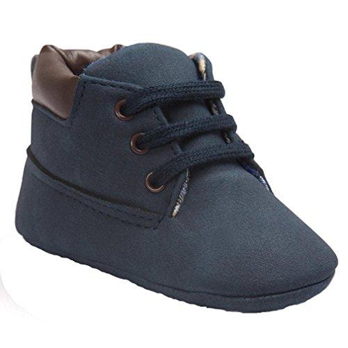 FNKDOR Baby Jungen Mädchen Lauflernschuhe Rutschfest Weiche Schuhe für Neugeborene 0-18 Monate (0-6 Monate, Dunkelblau)