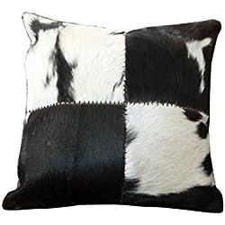 Sit-Möbel 1028-11 cojín This y That, 45 x 7 cm, con cremallera de piel de vaca, parte trasera 100% algodón, negro/blanco
