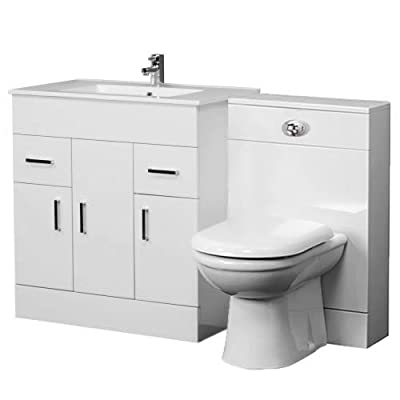 Home Standard Ice Cube White Gloss Bathroom Furniture (Vanity Package, 1300mm Minimalist)