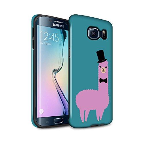 Stuff4® Glanz Harten Stoßfest Hülle/Case für Samsung Galaxy S6 Edge/Ausgefallener Hut Rosa Muster/Karikatur Alpaka Kollektion