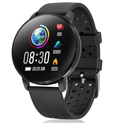 CatShin Smart Watch Aktivitäts-Tracker mit Herzfrequenzmesser - CS06 IP68 wasserdichte Fitness-Bluetooth-Uhr, runde Multifunktions-Sportuhr für Herren und Damen, kompatibel mit iOS und Android