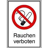 INDIGOS UG - Rauchen verboten Verbotsschild, selbstklebende Folie, Größe 13,10x18,50 cm