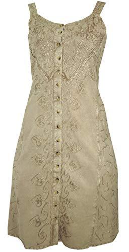 Guru-Shop Besticktes Indisches Boho Kleid, Hippie Chic Minikleid, Beige, Damen, Design 26, Synthetisch, Size:40, Kurze Kleider Alternative...