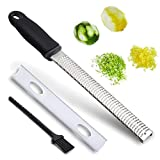 Zester – Rantizon Stainless Steel Citrus Lemon Zester, Stainless Steel Grater, Cheese Grate, Ginger Zester, Sharp Blade and Ergonomic Handle with Protective Cover, Free Cleaning Brush, Dishwasher Safe
