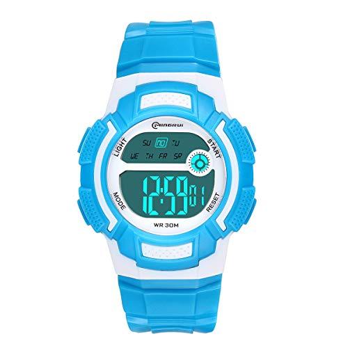 Reloj Digital Juvenil, para niñas, Resistente al Agua, Reloj Deportivo Digital (Azul)