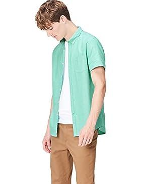 [Sponsorizzato]FIND Camicia in Cotone a Manica Corta Slim Fit Uomo