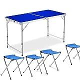 Tavolo da picnic pieghevole da 4 persone con tavolo da picnic pieghevole da campeggio Tavolo da campeggio pieghevole regolabile con 4 sedie,Blue
