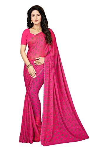 Rani Saahiba Bandhej Printed Chiffon Saree Without Blouse (SKR4151_Pink)
