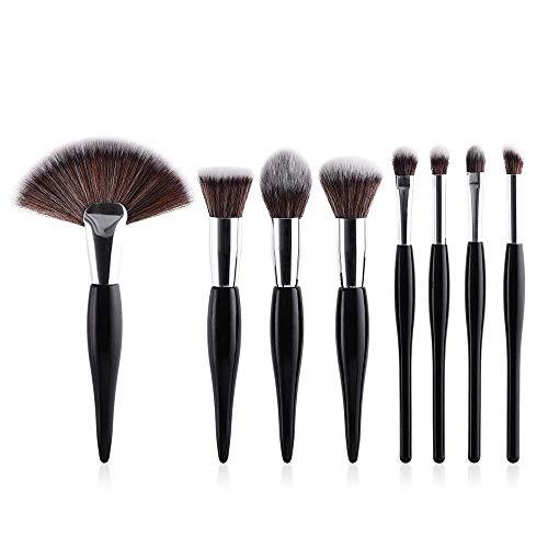 Eulan Foundation Makeup Brush Set, 8 Pcs Kabuki Brush Set Synthetic Beauty Brush Foundation Eyeshadow Eyebrow Concealer Powder Brushes (Black)