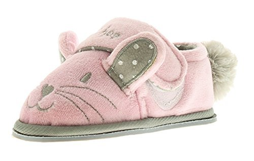 New Girls/Childrens Pink Bunny Slippers Touch Fastening - Pink - UK SIZE 4