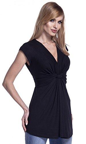 Glamour Empire. Damen Empire-Taille Schnitt Top Knoten Details Flügelärmeln. 966 Schwarz