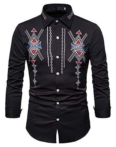 WHATLEES Herren urban Basic Barock azteken Hemd mit aufgesticktem Design BA0097-black-XXL