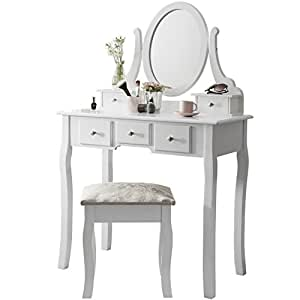 Vienna Dr006 Dressing Table With Stool Mirror White
