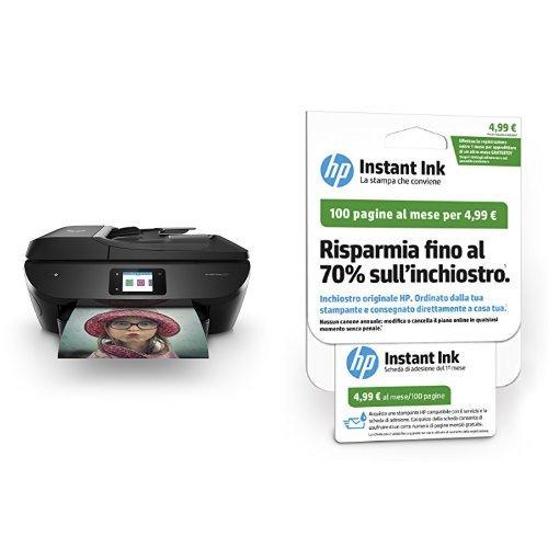 HP Envy Photo 7830 Stampante Fotografica Multifunzione Wireless, Nera con Instant Ink Piano da 100 Pagine Scheda di Registrazione 1° Mese