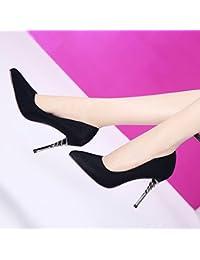 3dad50b3e2cdb MDRW-Lady Elegante Trabajo Ocio Muelle Damascos 10 5Cm High-Heeled Zapatos  De Punta Fina Seguido De Puerto Luz Solo…