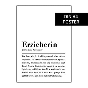 Erzieherin Definition: DIN A4 Plakat
