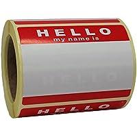 Rollo de 250 'Hello My Name Es' Adhesivos / Nombre Etiquetas - Rojo Y Blanco - 8cm x 6cm - No Logo