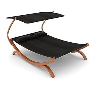 Ampel 24 Doppel-Sonnenliege Panama mit Dach schwarz, Gartenliege mit Holzgestell wetterfest, Sonnendach verstellbar, Doppelliege mit Kissen
