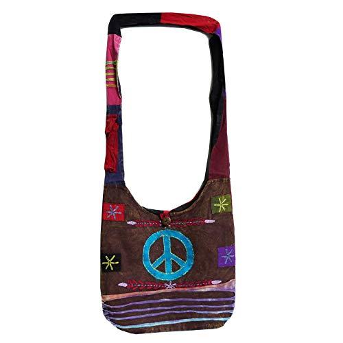 Patchwork Tasche Umhängetasche Handtasche Beuteltasche Tragetasche Schultertasche Shopper Bestickt Farbe Peace -
