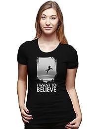 Crazy Dog TShirts - Women's I Want To Believe In Unicorns T Shirt Funny Magical Unicorn Tee - Camiseta Para Mujer