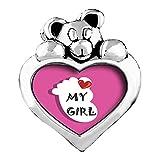 Cœur My Girl Pied Fond Rose Blue Zircon cristal Décembre Birthstone Coeur I Love You Care Bear Charme