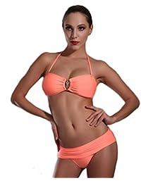 ZLZ-Traje de baño Split Traje de Baño triángulo Bikini Traje de Baño Dos Piezas de Malla Hueca (Color : Black, Tamaño : S)
