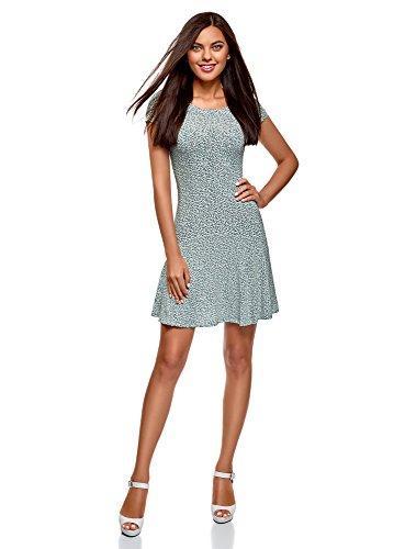 oodji Ultra Damen Jersey-Kleid mit Volants, Grün, DE 42 / EU 44 / XL