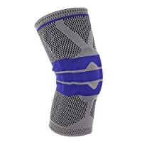 XSYYQYLL 1 Pcs Fitness Running Knee Support Protect Gym Sport Braces Kneepad Elastic Nylon Silicon Padded Compression Knee Pad Sleeve Support (Color : Gray, Size : XL)