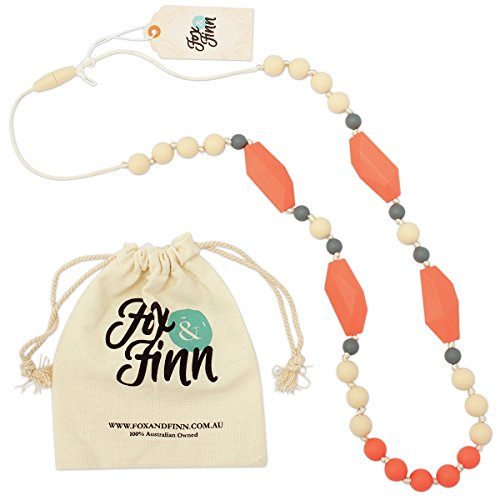 Fox & Finn 'Mackenzie' Silicone Teething Necklace for Babies | Safety Knotted Silk Rope | Does Not Pull Out Hair | 14 Inch Drop 41GAJqaINGL